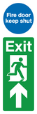 Exit fire door keep shut mutliplate sign