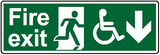 Fire exit disabled access sign down