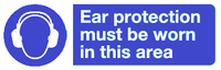 ear protection must be worn in this area sign