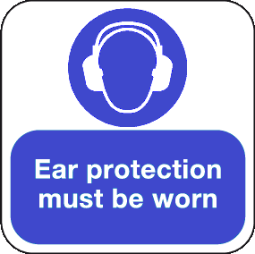 Ear Protection must be worn floor graphic sign