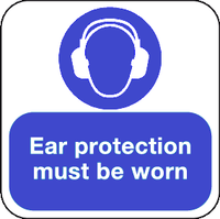 ear protection floor sign