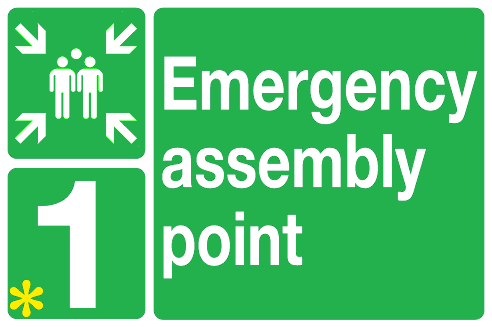 Emergency assembly point sign with space for numbers