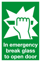 Break glass to open sign