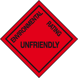 Environmental Rating Unfriendly sign