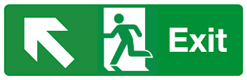 Exit diagonal left up arrow sign