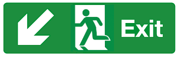 Exit door diagonal left down arrow sign