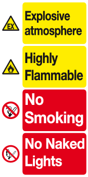 Explosive atmosphere Highly Flammable sign