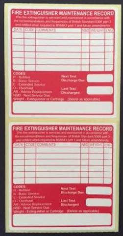 Fire maintenance labels