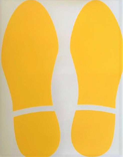 1 x Set of feet Yellow anti-slip floor marker signs ( one left and one right)