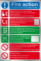 Fire action multi-lingual instructions prestige sign