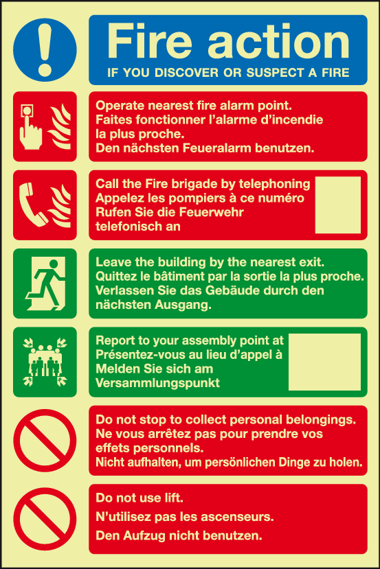 Fire Action Multi-lingual Sign