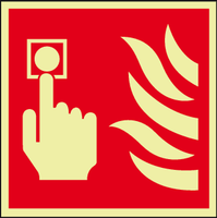 Fire alarm call point photoluminescent sign