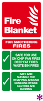 Fire blanket instructions sign
