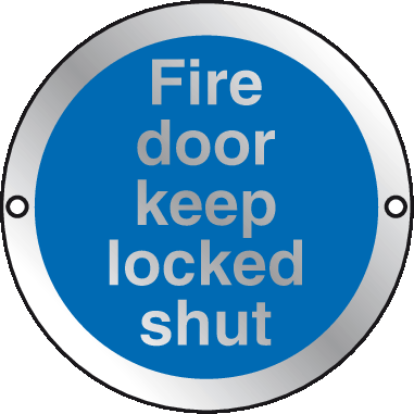 Silver Fire Door Keep locked shut sign