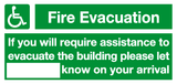 fire evacuation assistance sign
