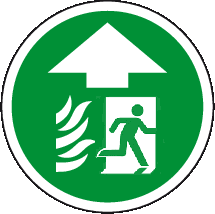Fire Exit ahead floor graphics sign