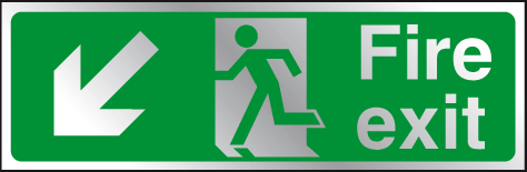 Fire exit diagonal left down prestige sign