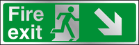 Fire exit diagonal right down prestige sign