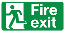 Fire exit door on left sign