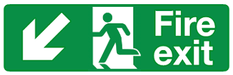 Fire Exit Down diagonal left sign