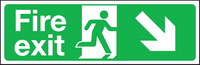 Fire exit down right double sided hanging sign