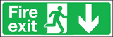 Fire exit down double sided sign