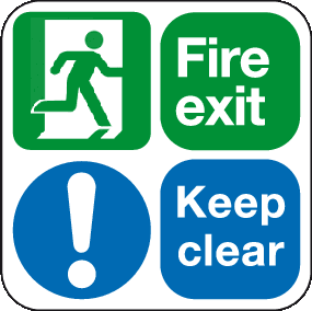 Fire exit keep clear floor graphic sign