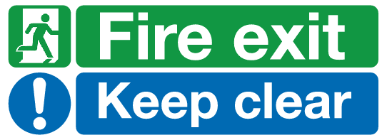 Fire Exit Keep clear sign Safety sign