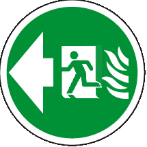 Fire exit left floor sign