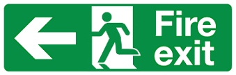 Large format signs Fire exit left