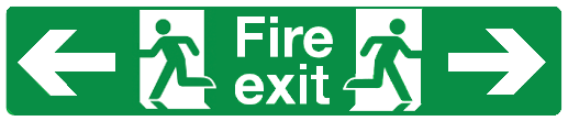 Double Sided Hanging Fire exit left and right sign