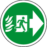 Floor graphics exit right sign