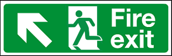 Fire exit straight left sign