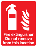 do not remove fire extinguisher sign