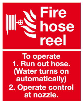 Fire hose reel nstructions sign