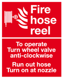 Fire hose reel instructions sign