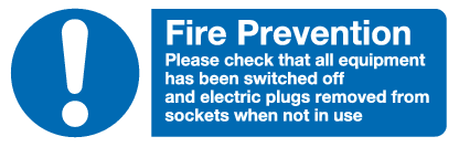symbol and text fire prevention sign