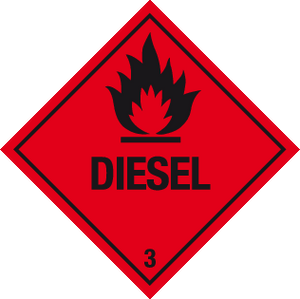 Flammable diesel warning labels
