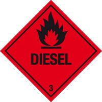pack of Flammable diesel warning labels