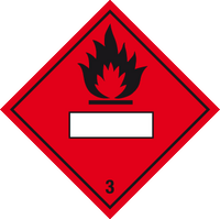 Flammable liquid label with blank space