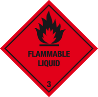 image and text Flammable liquid label