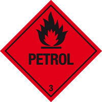 Pack of Flammable petrol warning labels