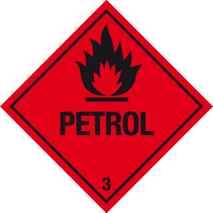 Flammable petrol warning labels