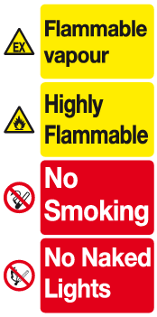 Flammable vapour Highly Flammable sign