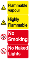 Flammable vapour Highly Flammable sign Garage forecourt sign..