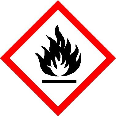 Roll of 250 Flammable GHS / CLP Labels (50 x 50mm)