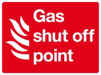 Gas shut off point sign