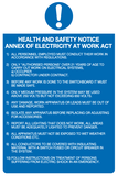 Health and Safety notice Annex of electricity at work act