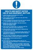 Health and Safety notice use of gas equipment: bottles
