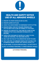 Health and Safety notice using of all abrasive wheels sign